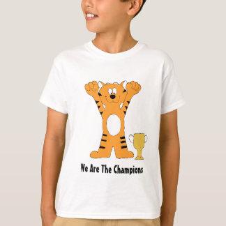 T-shirts Campeão do tigre dos desenhos animados com troféu