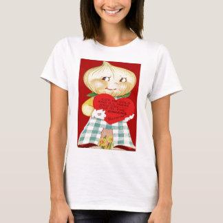 T-shirts Cartão retro dos namorados do menino da cebola do