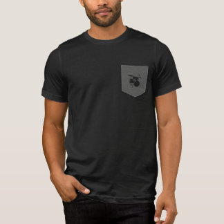 T-shirts cilindros. baterista. música