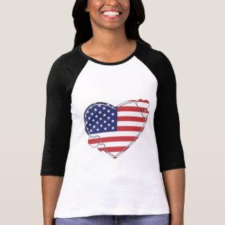 T-shirts Coração da bandeira americana