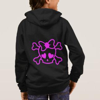 T-shirts Crânio feminino cor-de-rosa do emo com o hoodie
