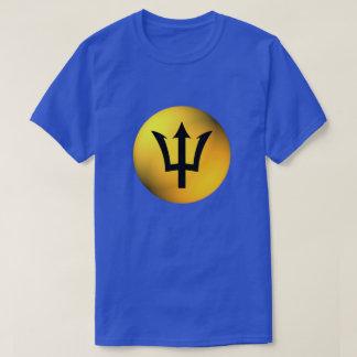 T-shirts Esfera de Trident do preto da bandeira de Barbados