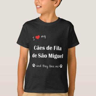 T-shirts Eu amo meu Sao Miguel de Caes de Filamento de (os