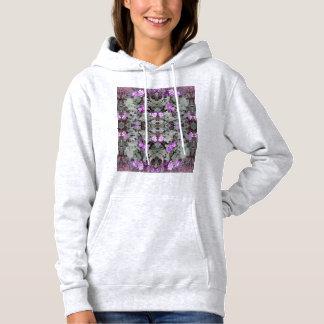 T-shirts Hoodie à terra malva do Fractal 2 da flor (cinza)