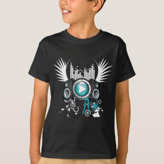 T-shirts ilustração da música com auto-falante e asas