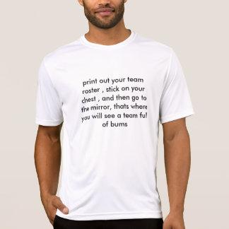 T-shirts imprima para fora sua lista da equipe, vara em