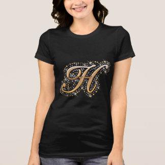 T-shirts Letra inicial H do monograma do ouro