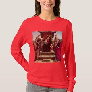 T-shirts Madonna e criança Enthroned com santos por Raphael