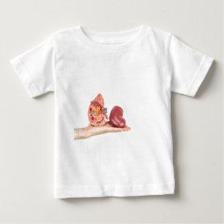 T-shirts Mão lisa que mostra o rim humano modelo