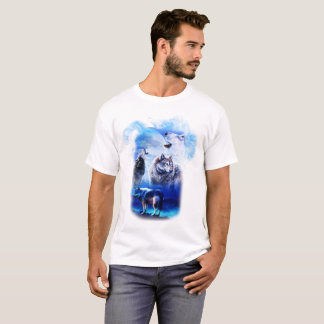 T-shirts Montanha da lua do lobo da fantasia