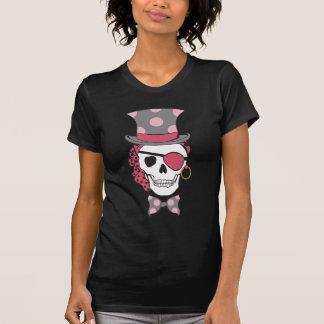 T-shirts Mulberry do crânio do pirata do noivo na
