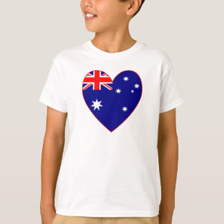 T-shirts Namorados australianos do coração da bandeira