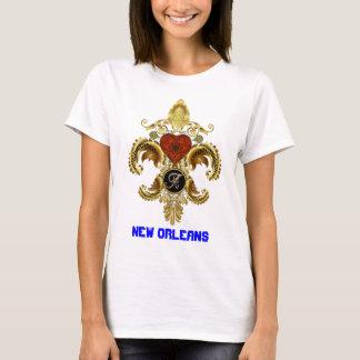 """T-shirts Picareta da letra """"A"""" da flor de lis do monograma"""