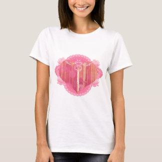T-shirts Porta dada forma coração com chave de esqueleto