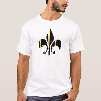 T-shirts Preto e flor de lis do ouro