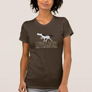 T-shirts Preto eqüino ocidental & branco do cavalo do