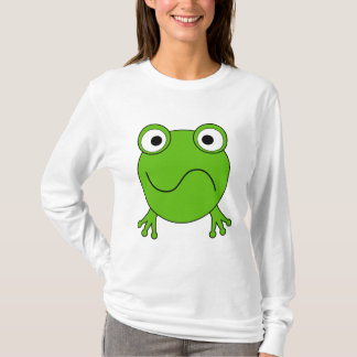 T-shirts Sapo verde. Vista confundido