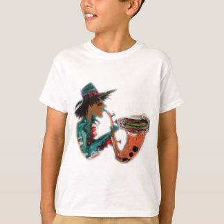 T-shirts saxofone um abstrato