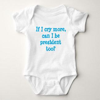 T-shirts terno branco do bebê com subtítulo pro-Democrática