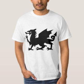 T voado preto da silhueta do dragão de Wales do Camiseta