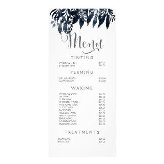 Tabela de preços branca preta do menu do estilista 10.16 x 22.86cm panfleto