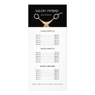 Tabela de preços preta do salão de beleza das 10.16 x 22.86cm panfleto