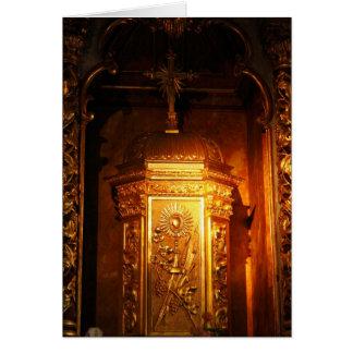Tabernáculo católico cartão comemorativo