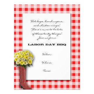 Tablecloth vermelho e branco com buquê da bota convites personalizado