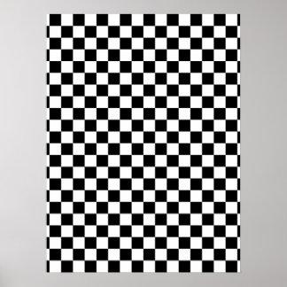 Tabuleiro de damas preto & branco pôster