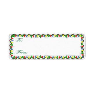 Tag adesivos do presente das luzes de Natal Etiqueta Endereço De Retorno