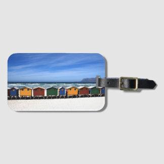 Tag colorido da bagagem das cabanas da praia etiqueta de bagagem