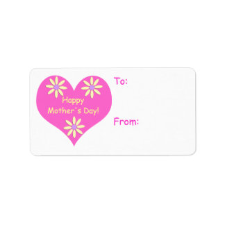 Tag cor-de-rosa do coração do dia das mães e do etiqueta de endereço