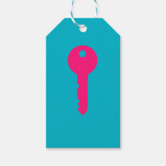 Tag cor-de-rosa do presente da chave da casa
