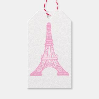 Tag cor-de-rosa do presente da torre Eiffel