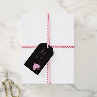 Tag cor-de-rosa do presente dos corações