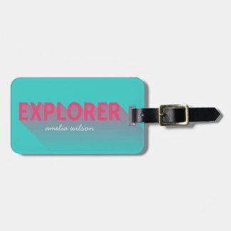 Tag cor-de-rosa moderno do saco do explorador de tag para bagagem
