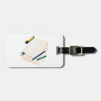 Tag da bagagem do lápis e do papel etiqueta de bagagem