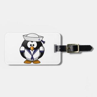 Tag da bagagem do marinheiro do pinguim etiqueta de bagagem
