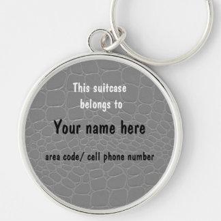 Tag da identificação do nome da mala de viagem de  chaveiro redondo na cor prata