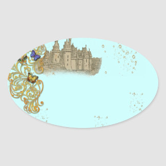 Tag das etiquetas do conto de fadas da fantasia adesivos oval