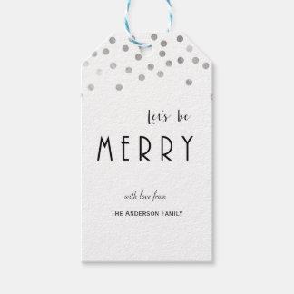 Tag de prata do presente do Natal dos confetes