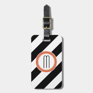 Tag diagonal da bagagem do monograma da listra - c etiqueta de bagagem