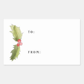 Tag do azevinho da aguarela do Natal e do presente Adesivo Retangular