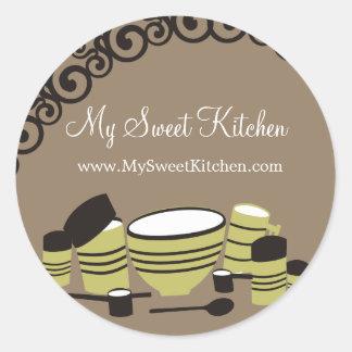 Tag do presente da cozinha dos cartuchos do adesivos em formato redondos