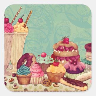 Tag do presente do Patisserie do cupcake & do Adesivo Quadrado