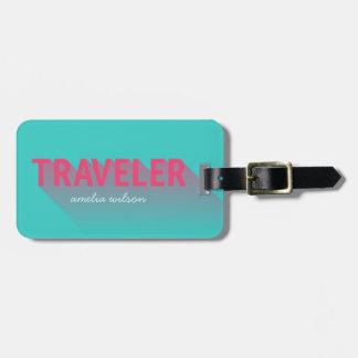 Tag moderno do saco do viajante do rosa de tags para bagagens