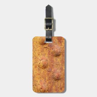 Tag rebitado oxidado da bagagem do metal tag de mala