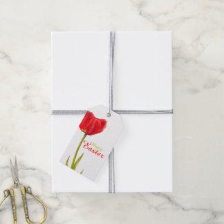 Tag vermelho do presente da aguarela da flor da