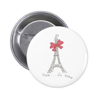 T'aime de Paris… Je Bóton Redondo 5.08cm