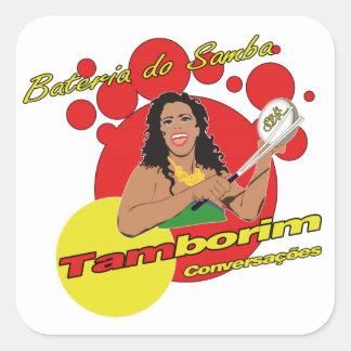 Tamborim Batucada de Samba Adesivo Quadrado